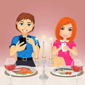romantic dinner with smartphone