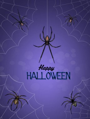 Halloween postcard with spiders