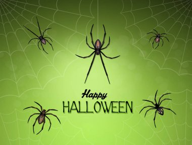 Halloween card with spiders
