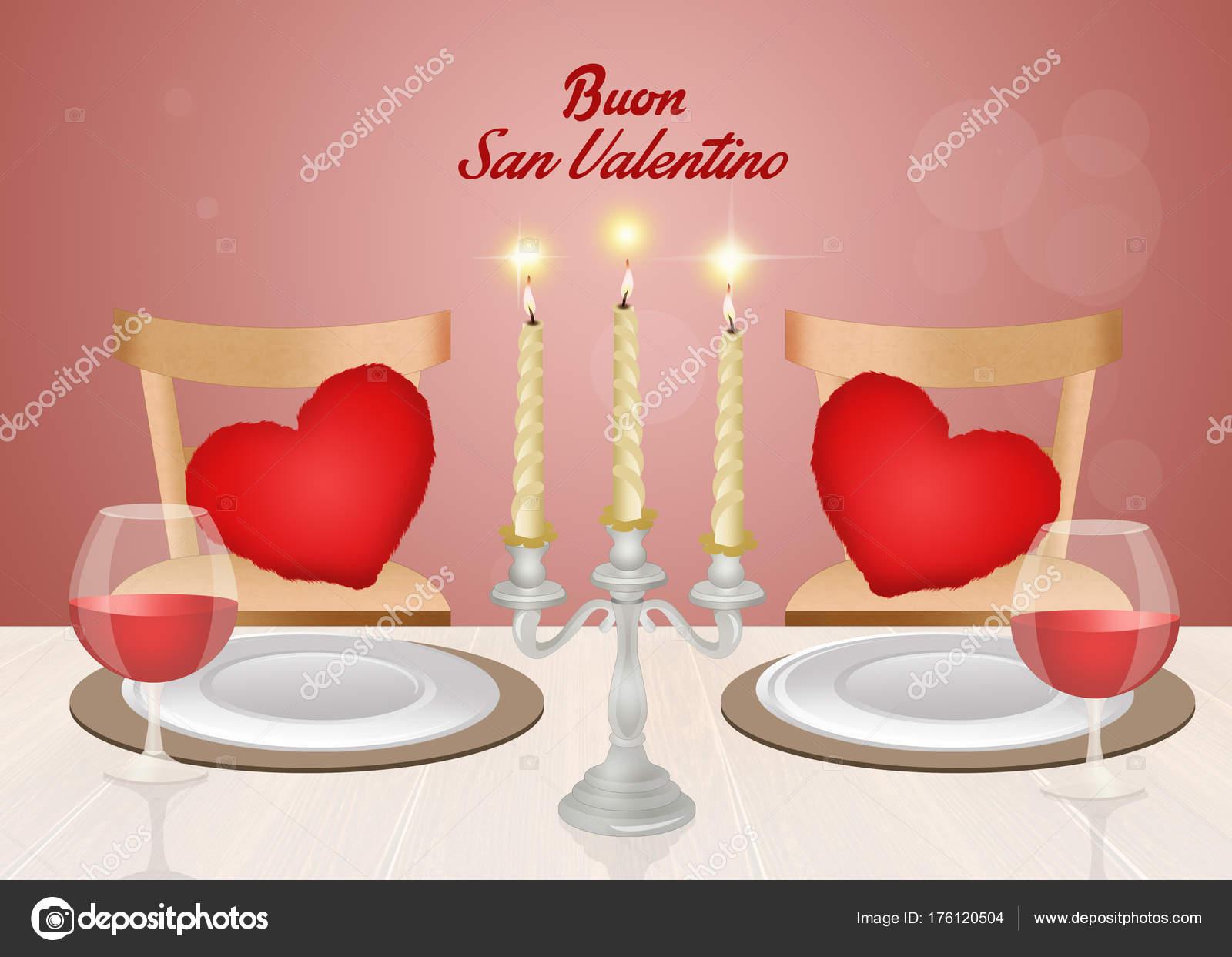 Illustration Romantic Dinner Valentines Day Stock Photo
