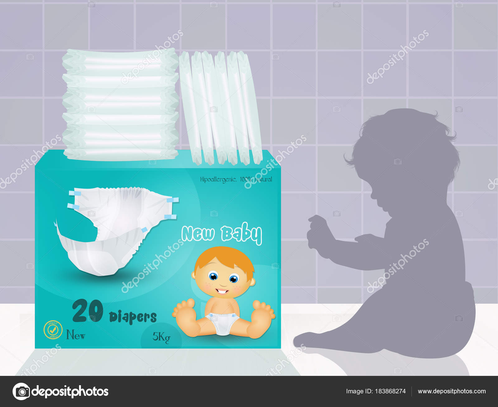 Illustration Baby Diapers Stock Photo C Adrenalina 183868274 - Baby-collection-by-adrenalina