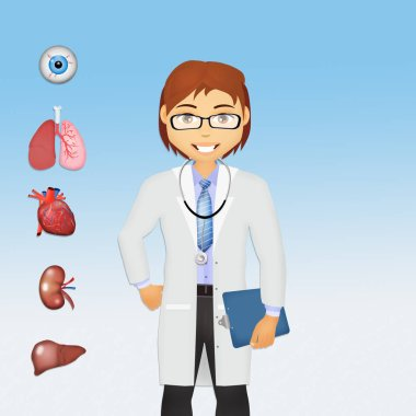 illustration of doctor and human organs