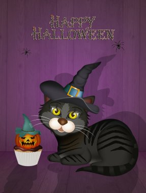 illustration of witch black cat