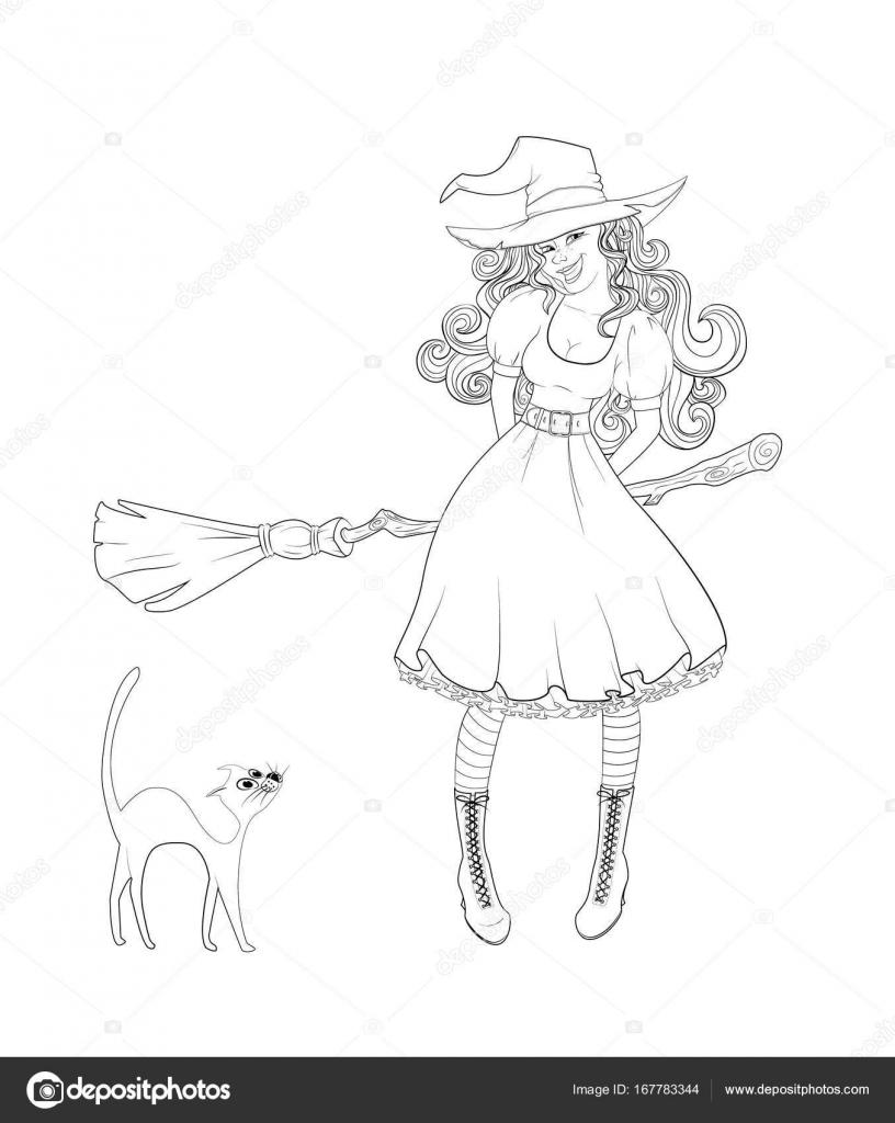 Süße Mädchen im Hexenkostüm und Katze neben ihr — Stockvektor ...
