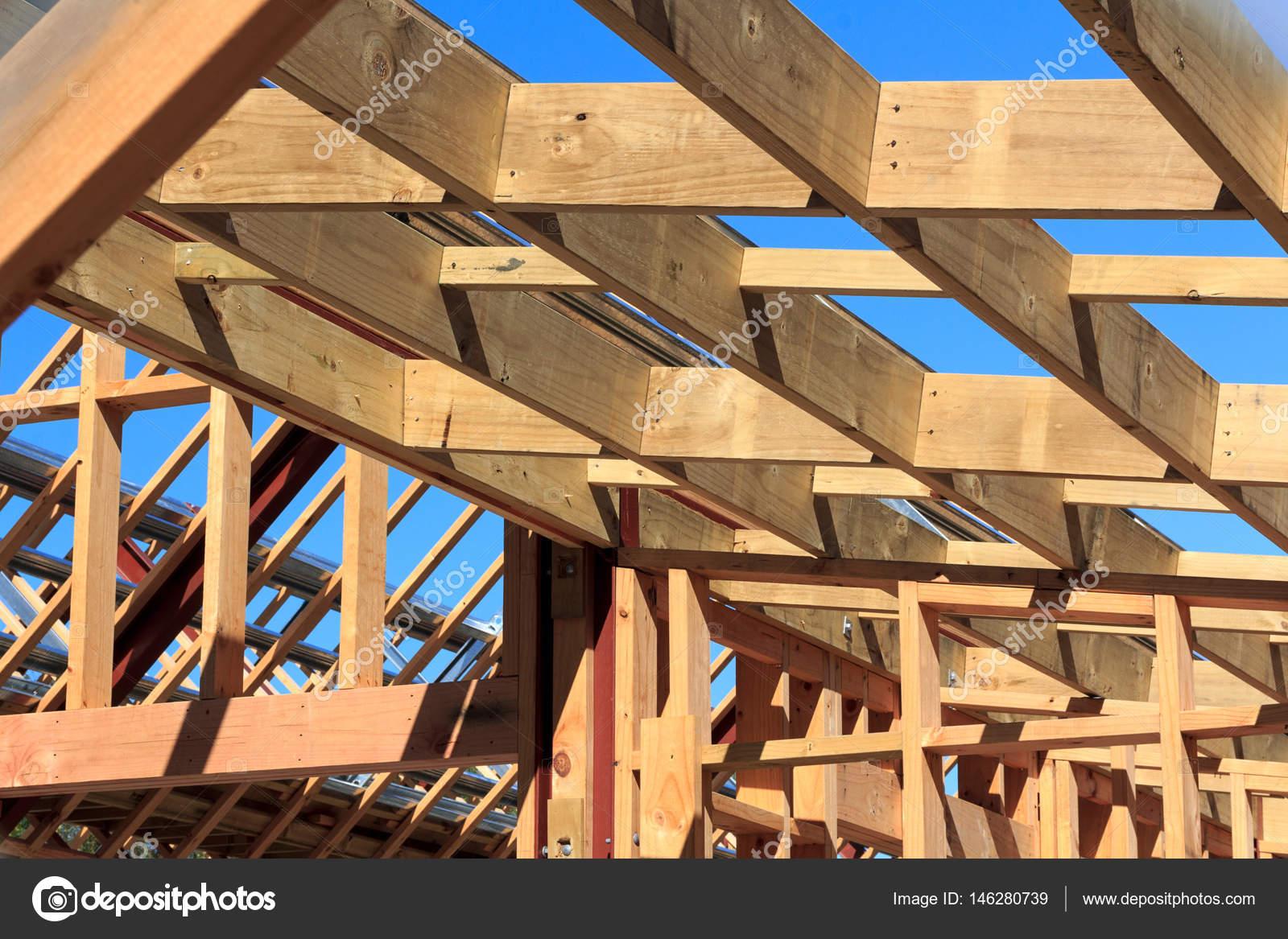 edificio de la casa de marco de madera - Nueva Zelanda — Fotos de ...