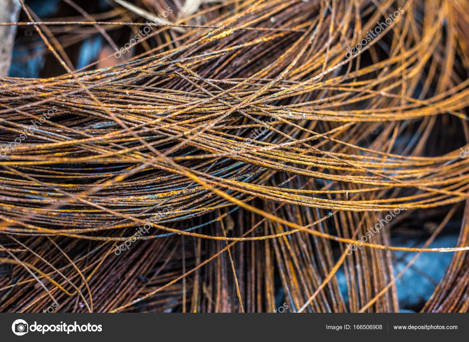 Textur des rostigen Draht in einer Baustelle — Stockfoto ...