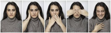 Series of five portraits of a pretty woman