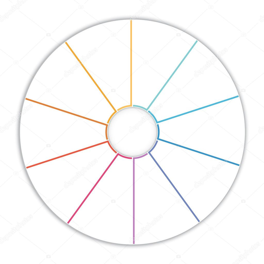 Template Infographic Pie Chart Diagram 10 Options Stock Photo