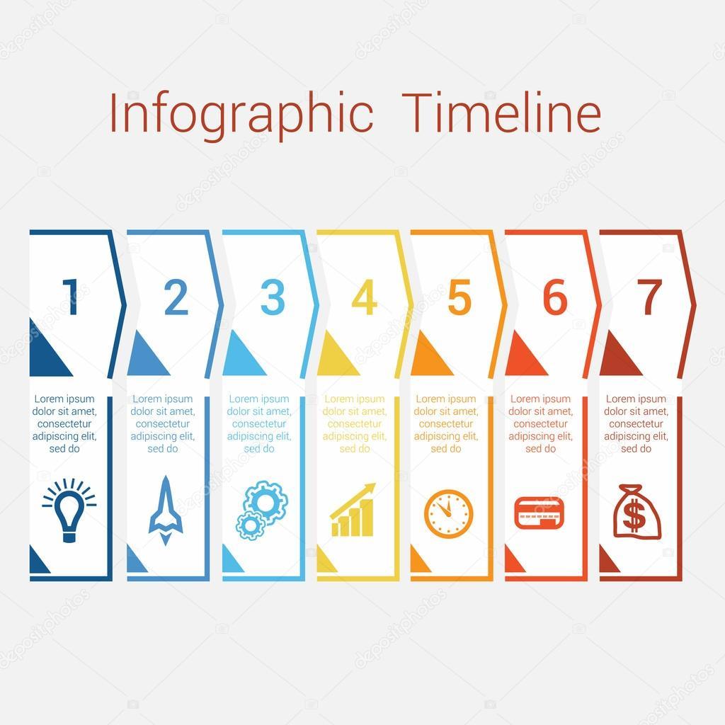 Timeline Infographic für sieben position — Stockvektor © assistant ...