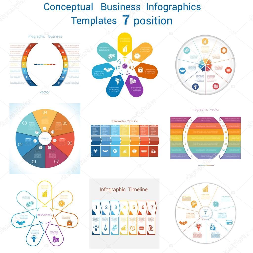 Eingestellten Vorlagen Infografiken für sieben Positionen ...