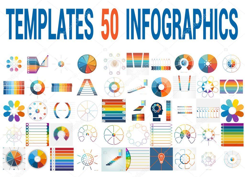 50 Vektor-Vorlagen für Infografiken für acht Positionen ...