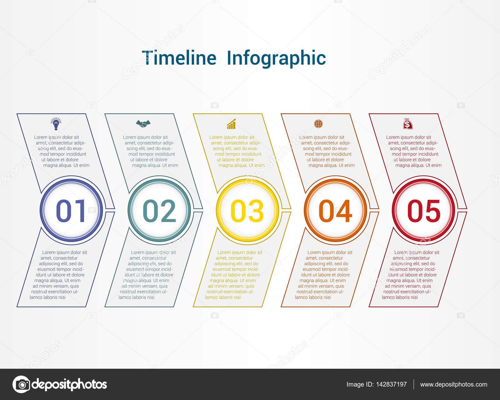 Chronik oder Bereich Diagramm Vorlage Infografiken 5 position ...