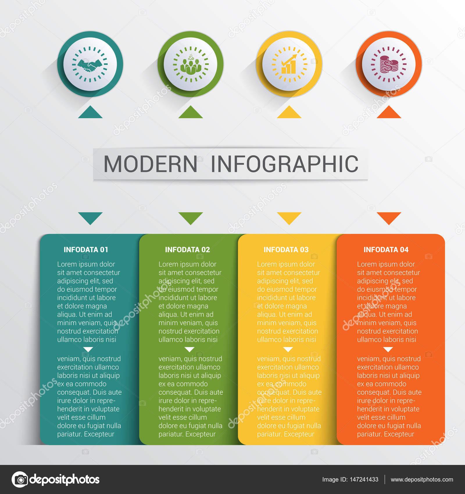 Infografiken gestalten, Vorlage, farbige Tasten und 4 Platten Formen ...