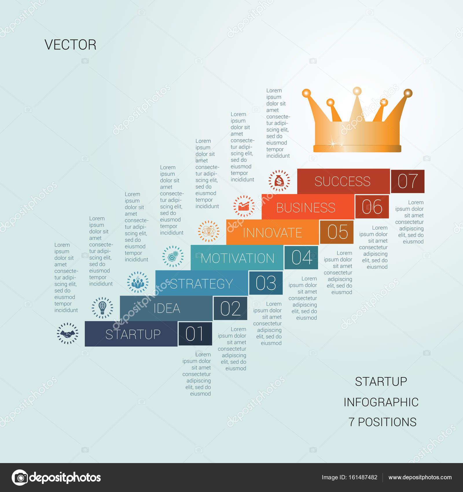 Éxito de inicio de plantilla de vector de siete posiciones — Vector ...