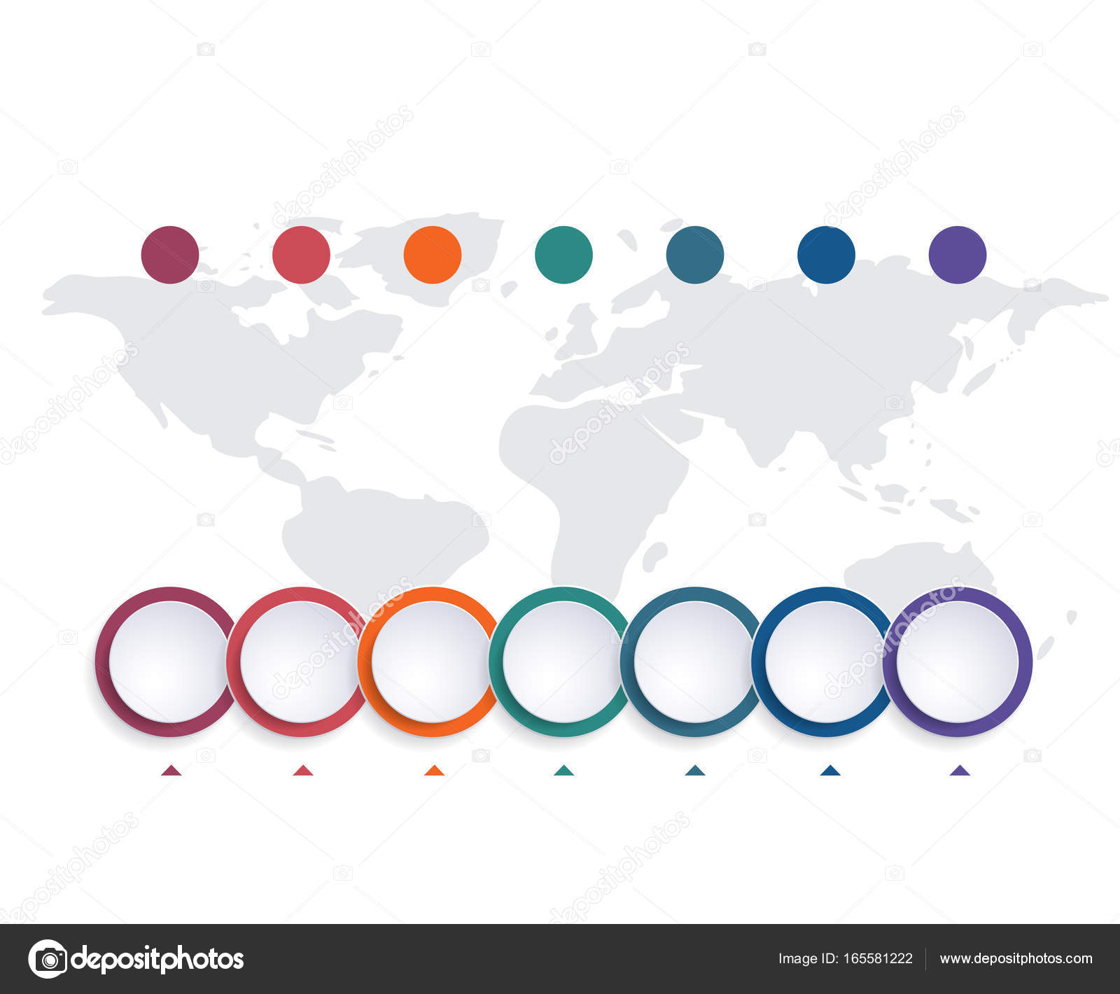 template infographic color bubble chart 7 positions stock photo