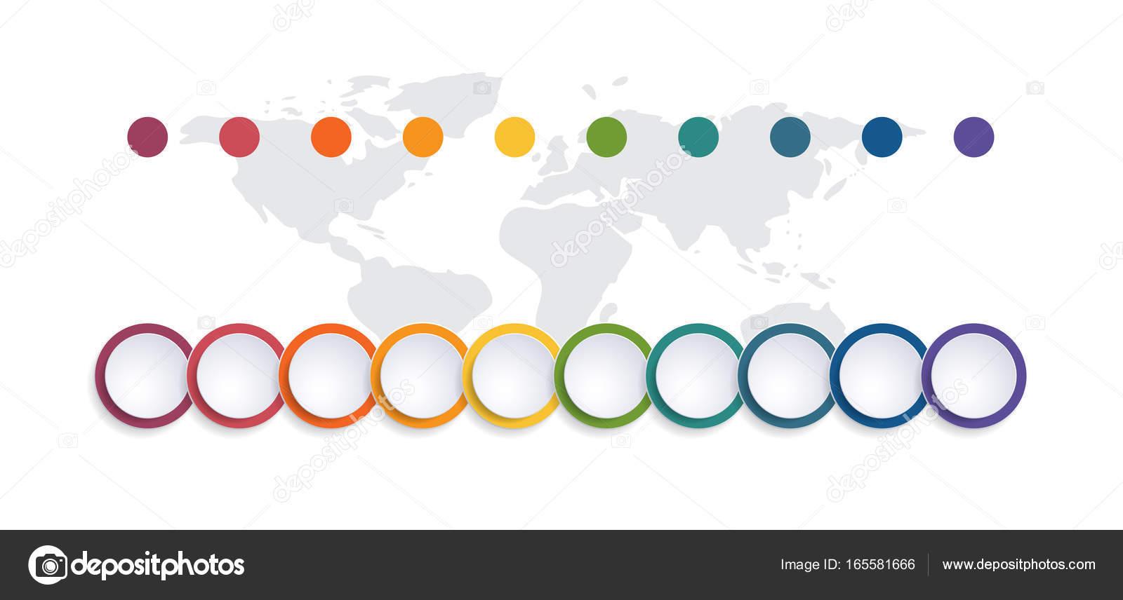 Posiciones de la carta 10 del burbuja de color de la plantilla ...