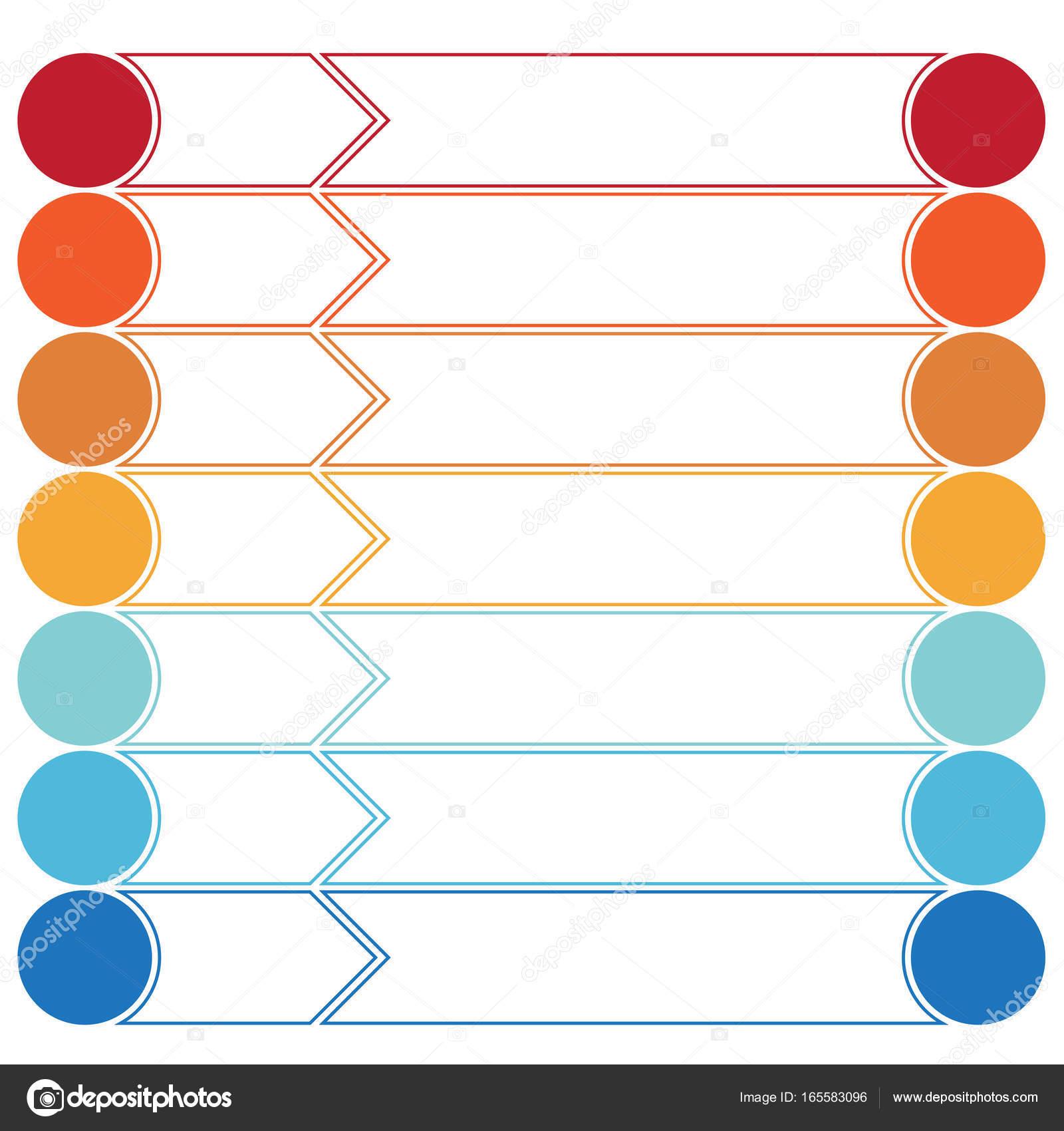 Vorlage Infografiken Farbe Pfeile und Kreise 7 Positionen ...