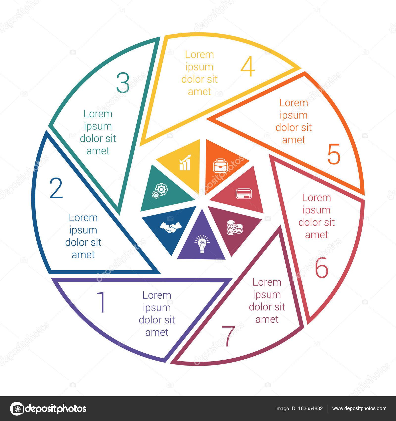 pie chart on white background from line for 7 options template