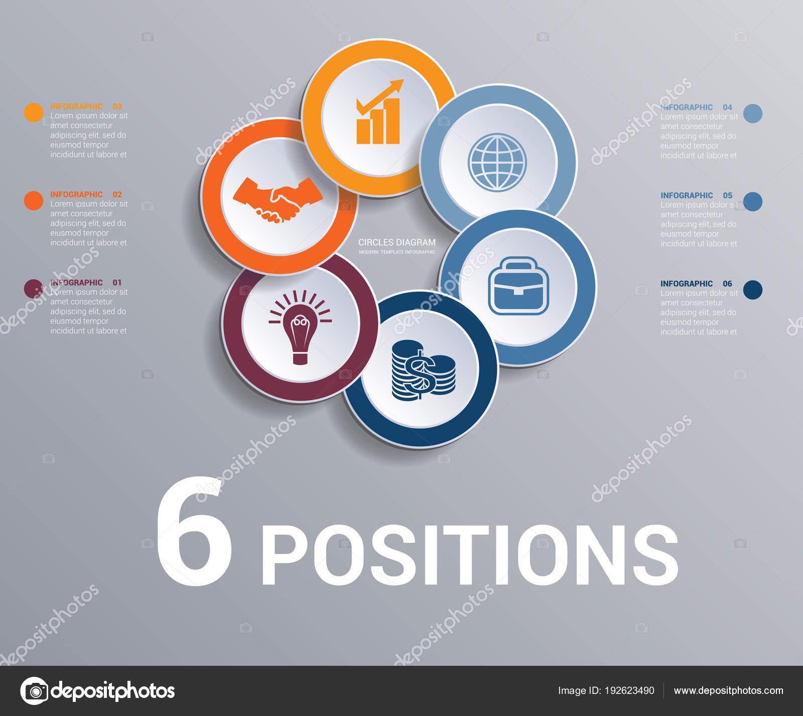 Kreise Diagramm Daten Elemente Vorlage Infografiken 6 Positionen ...