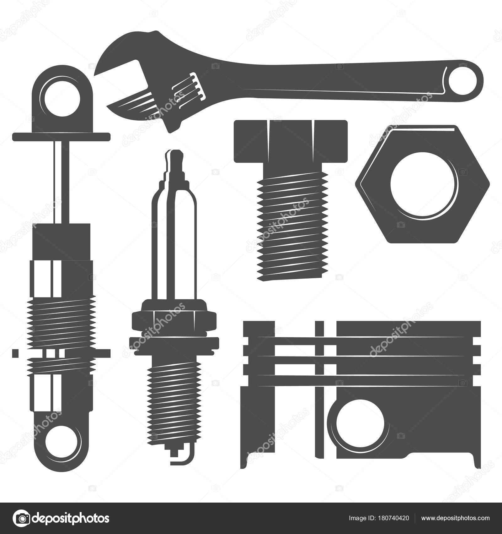 Monochrome Auto Parts Set Piston Wrench Shock Absorber Spark Plug ...