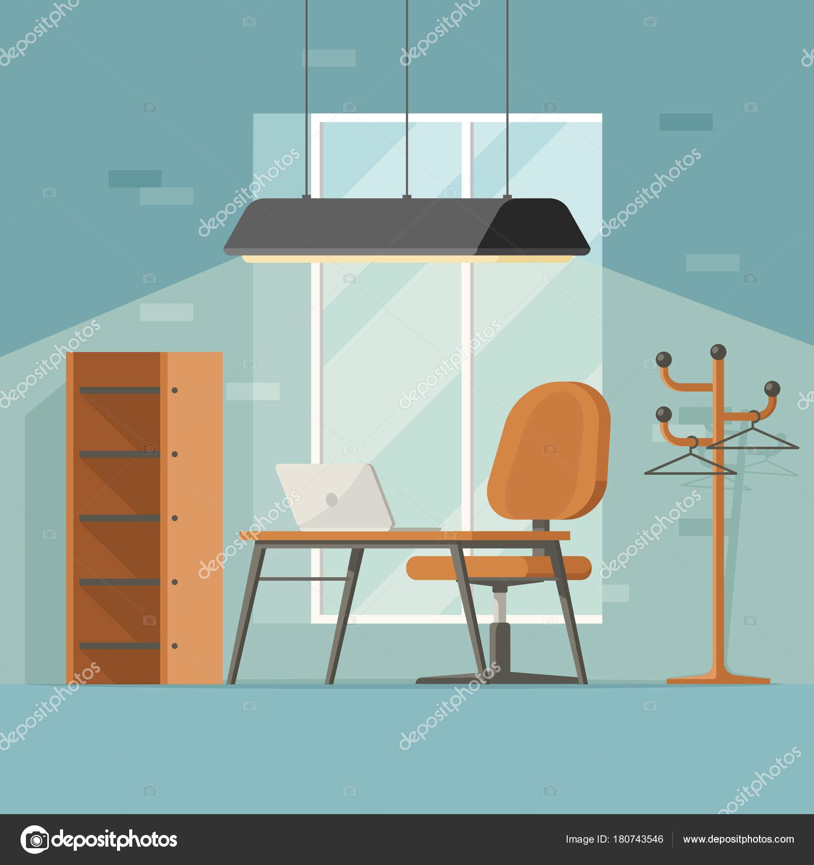 Kreativen Arbeitsplatz Flachen Stil Modernes Interieur Mit Tisch ...