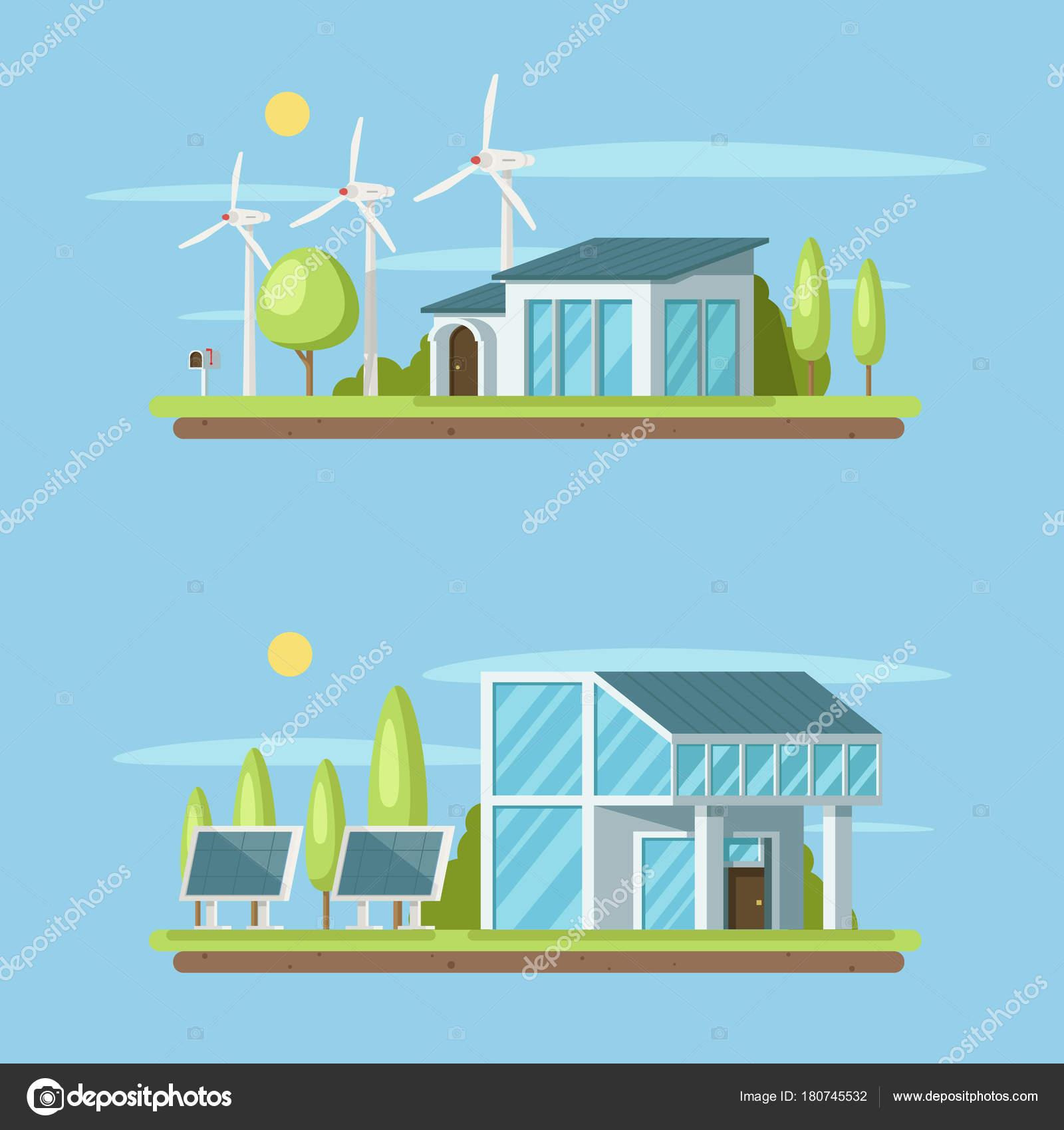 Modern Home Concept Eco Green City Urban City Skyline