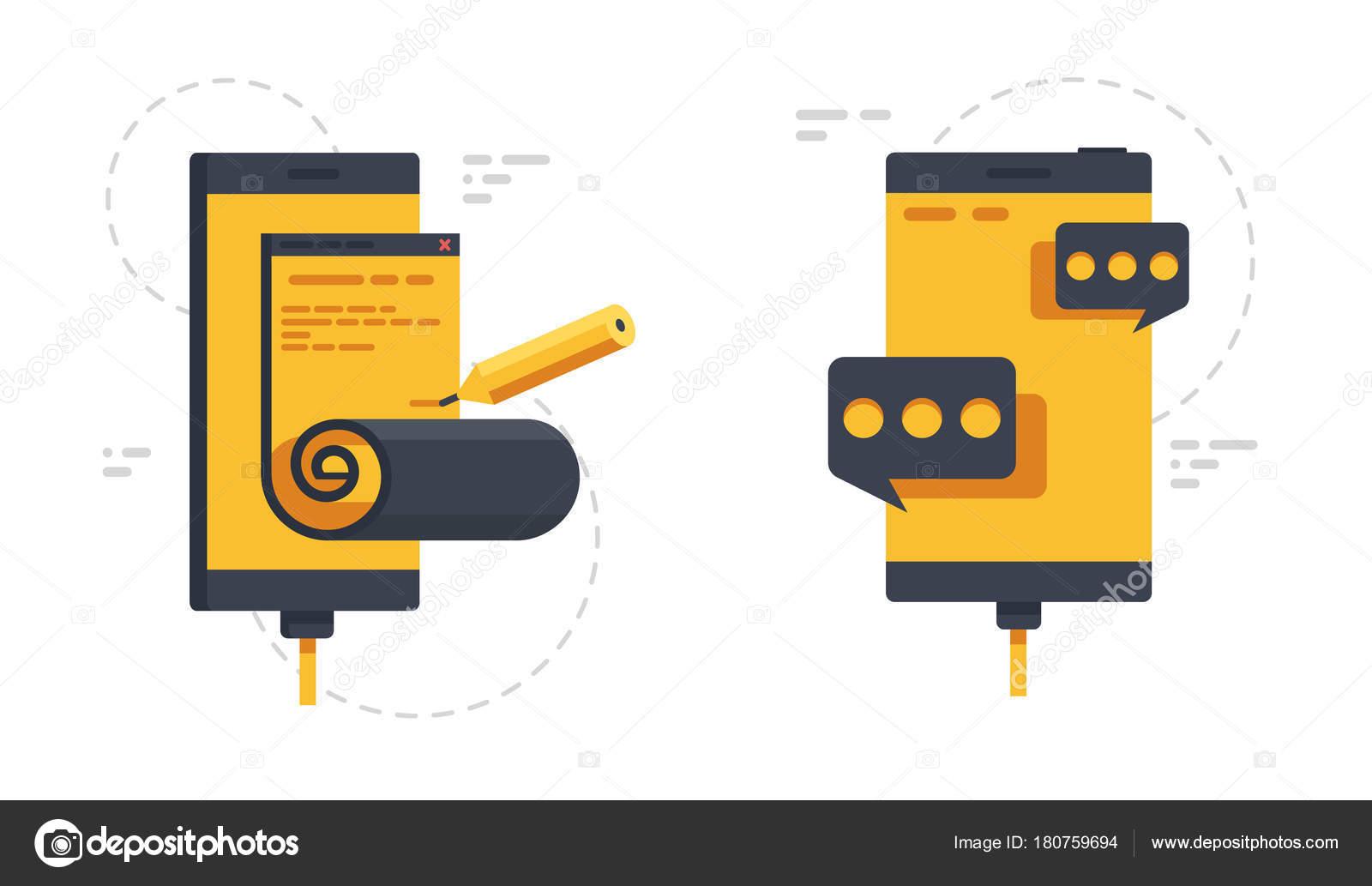 Mobile Phones Open Page Message Dialog Internet Online