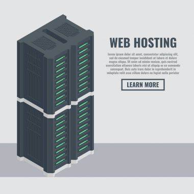 Web hosting banner in isometric style. Server rack room flat vector illustration