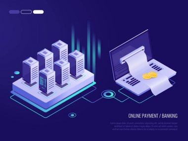 Vector illustration of Online payment on laptop , large bill for payment coming out of the screen from the laptop. concept of transaction records in the database. 3d Isometric style