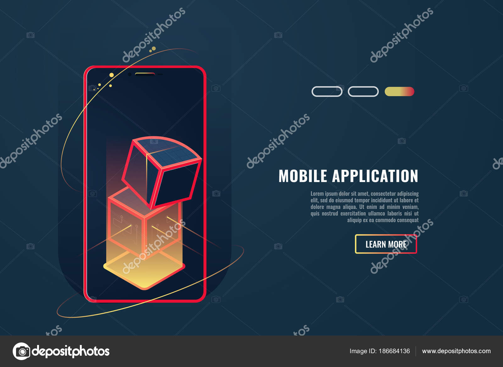 smartphone application concept header footer banner layout template