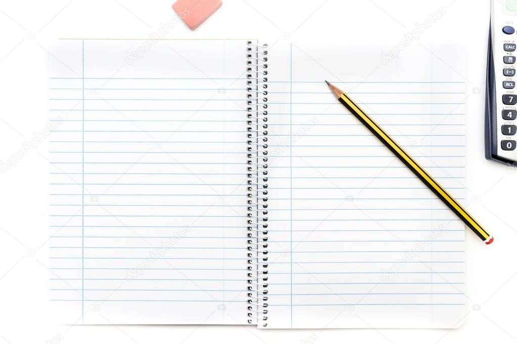 A view of a pencil on a notebook