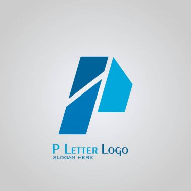 Letter P logo, creative design with blue color, vector icons.