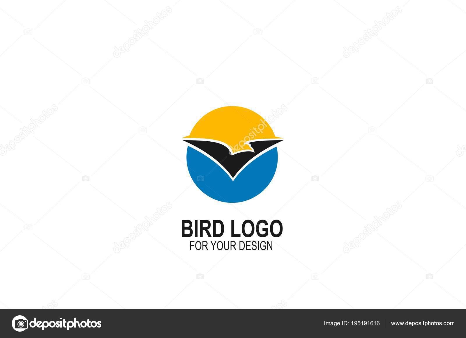 bird logo design flying bird logo circle concept template vector