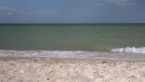 Výhled na moře v pěkný letní den: modrá obloha s malými mraky, čistá modrá mořská voda a hladké vlny, jasný horizont linie.