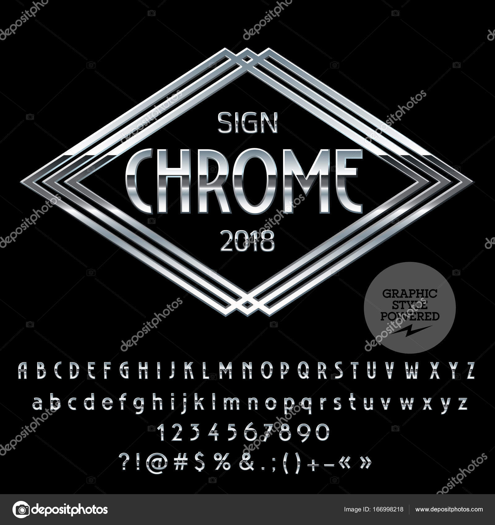vector logo template chrome alphabet set of letters numbers and