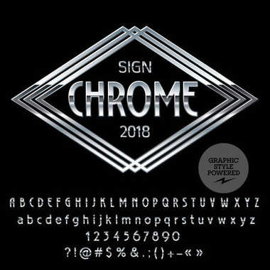 Vector Logo Template. Chrome Alphabet set of letters, numbers and symbols. Silver Font contains Graphic Style