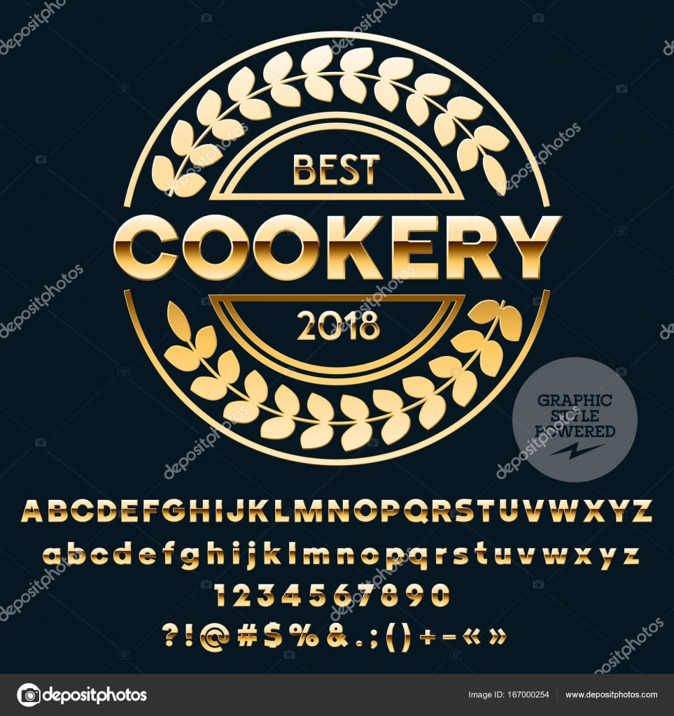 Vector Golden Logo Template For Best Cookery Luxury Set Of Letters Numbers Symbols