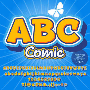 Modern vector alphabet set. Font with text ABC Comic. Contains graphic style.