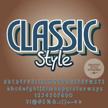 Elegant vector alphabet set. Font with text Classic Style. Contains graphic style.