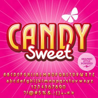 Trendy vector alphabet set. Font with text Candy Sweet. Contains graphic style.