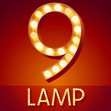 Chic retro vector light up font with glowing lamp. Gold number 9