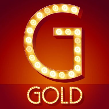 Chic retro vector light up font with glowing lamp. Gold letter G