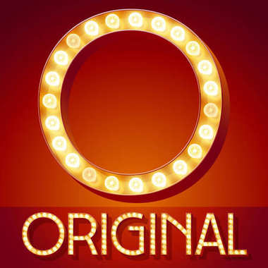 Chic retro vector light up font with glowing lamp. Gold letter O