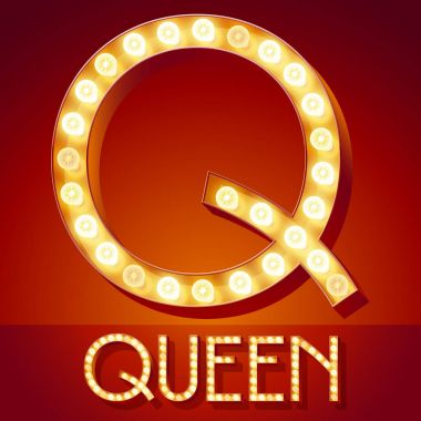 Chic retro vector light up font with glowing lamp. Gold letter Q