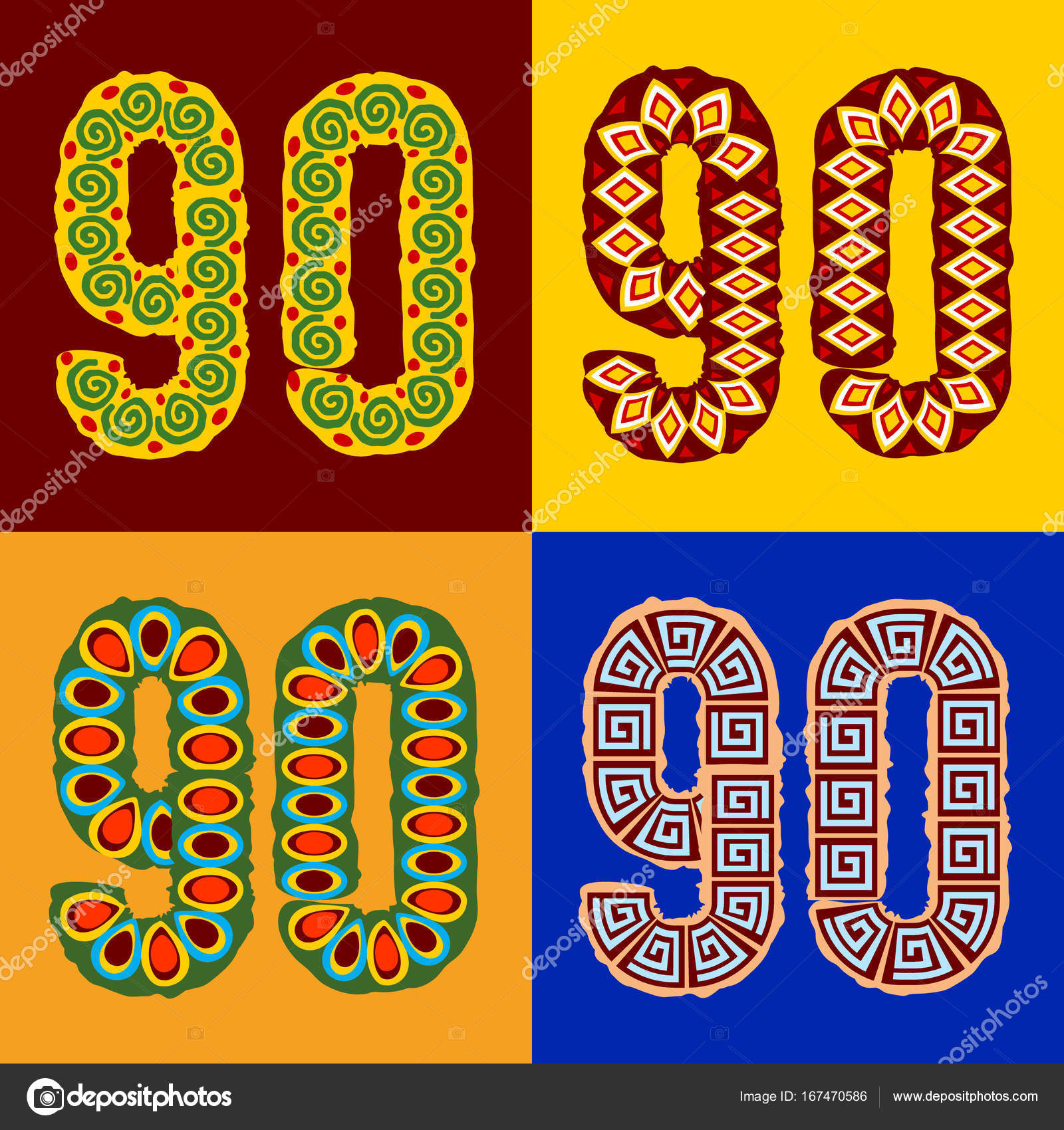 Vector Set Of Ethnic Font With African Ornament Optional Different Styles Numbers 9 0
