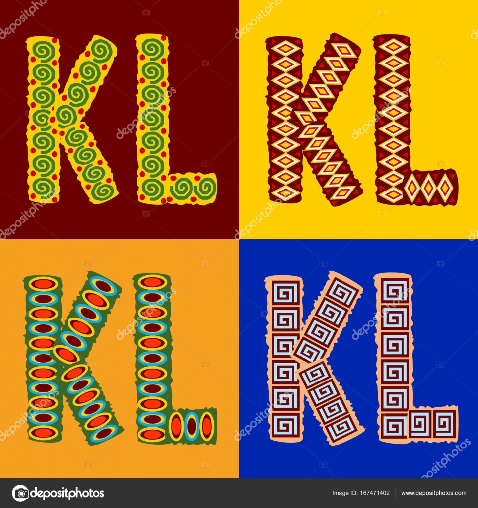 Vector Set Of Ethnic Font With African Ornament Optional Different