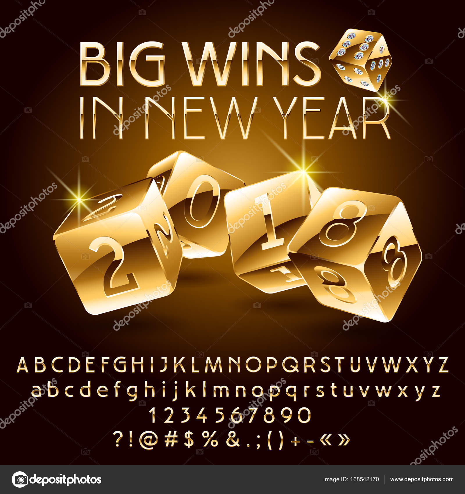 vector casino happy new year greeting card goldenr alphabet set of letters numbers and