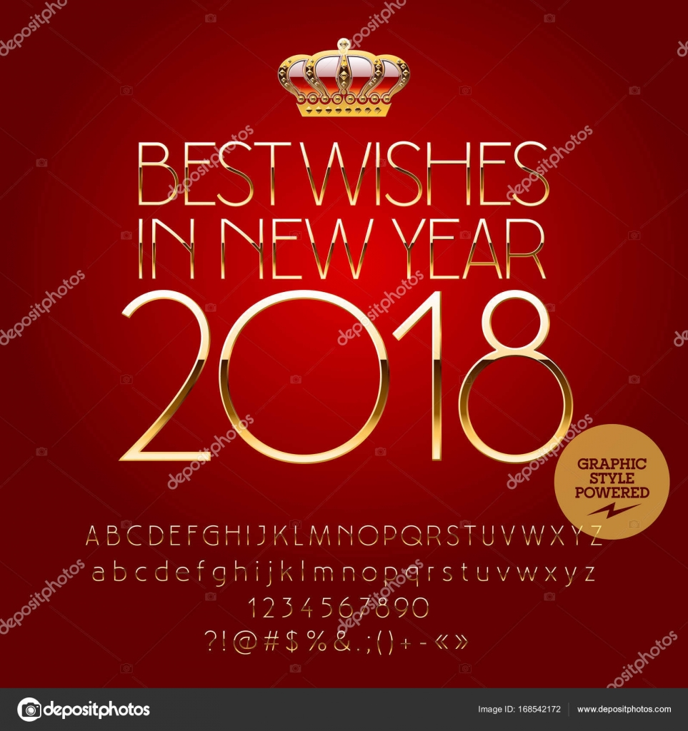 vector golden happy new year greeting card with set of letters symbols and numbers