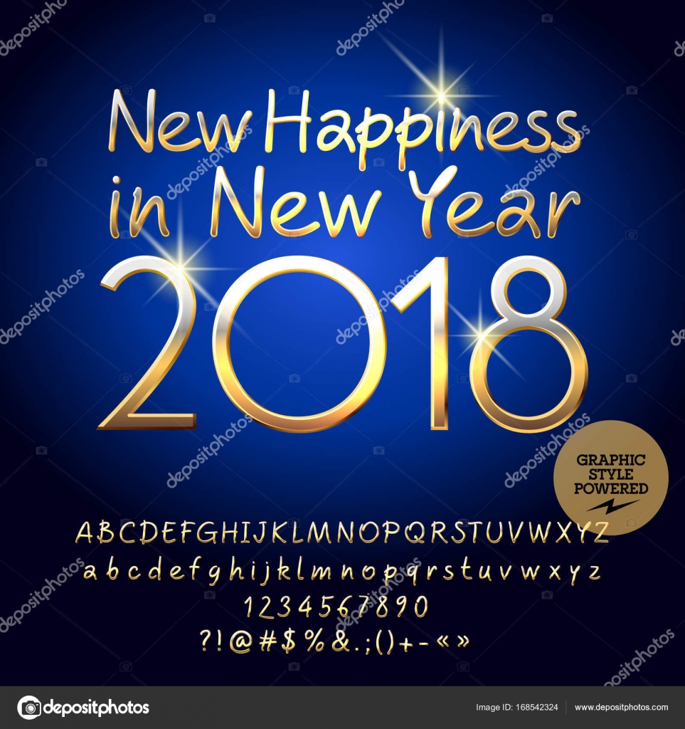 Vector golden happy new year greeting card with set of alphabet vector golden happy new year greeting card with set of alphabet letters symbols and numbers kristyandbryce Images