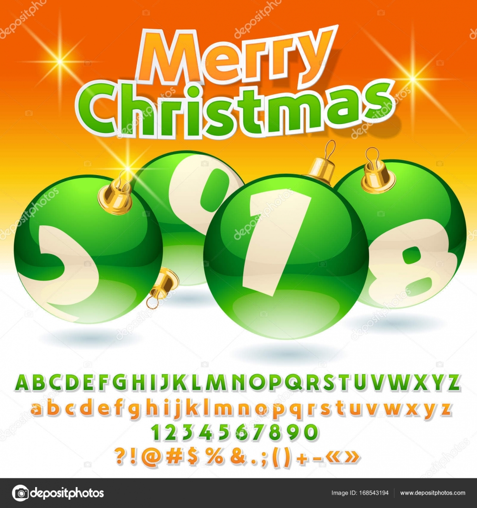 Vector greeting card Merry Christmas 2018 with green Christmas ...